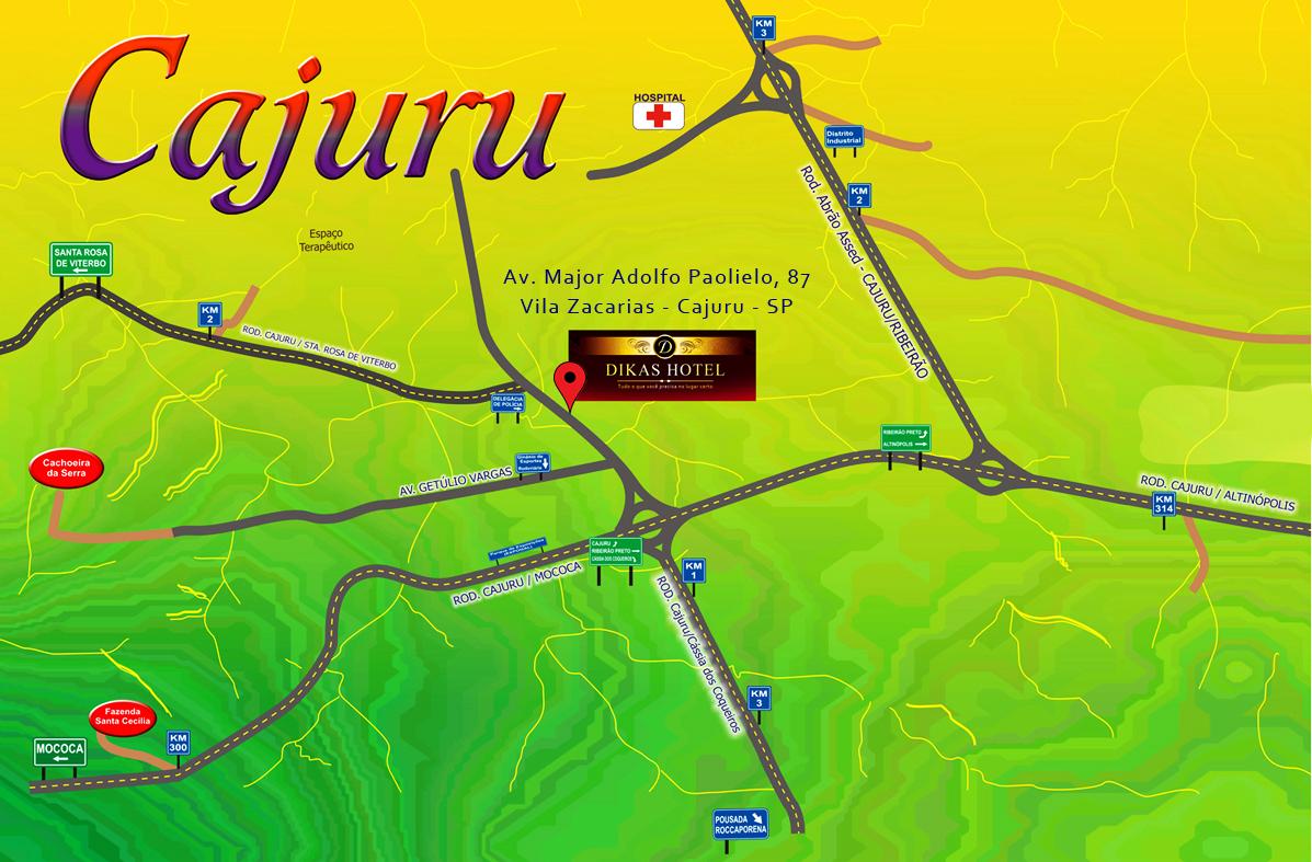 mapa de chegada do hotel